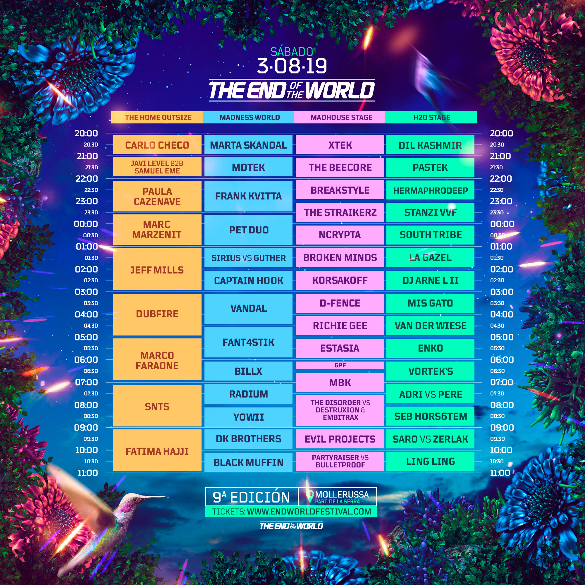 Horarios The End of the World 2019